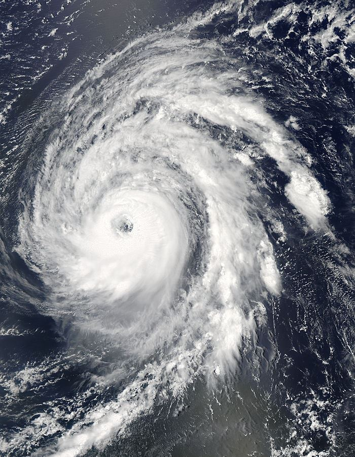 Aerial Image of Large Hurricane over Water