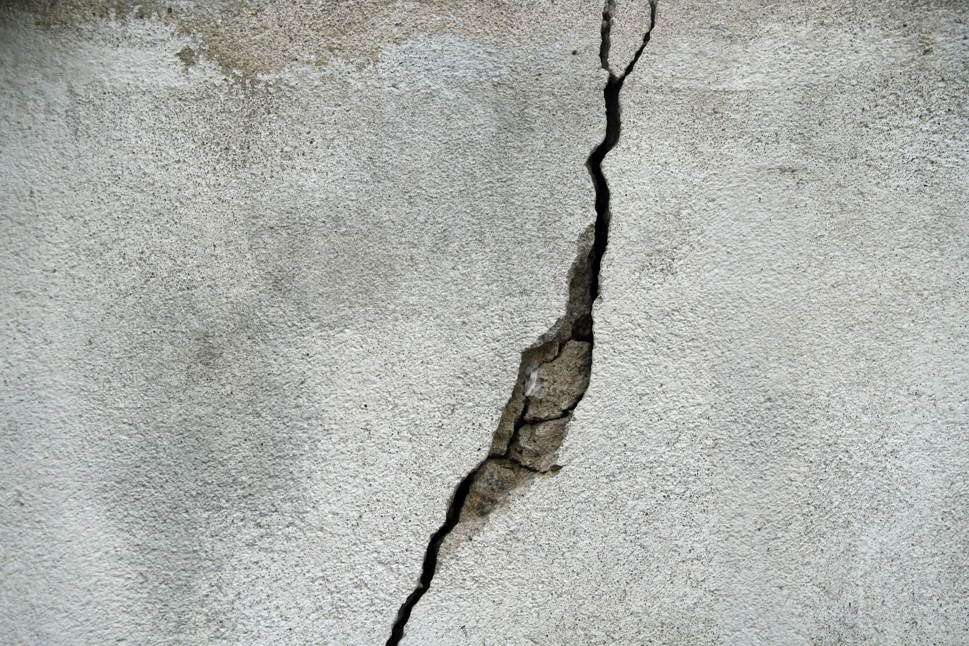 Large crack in a cement wall