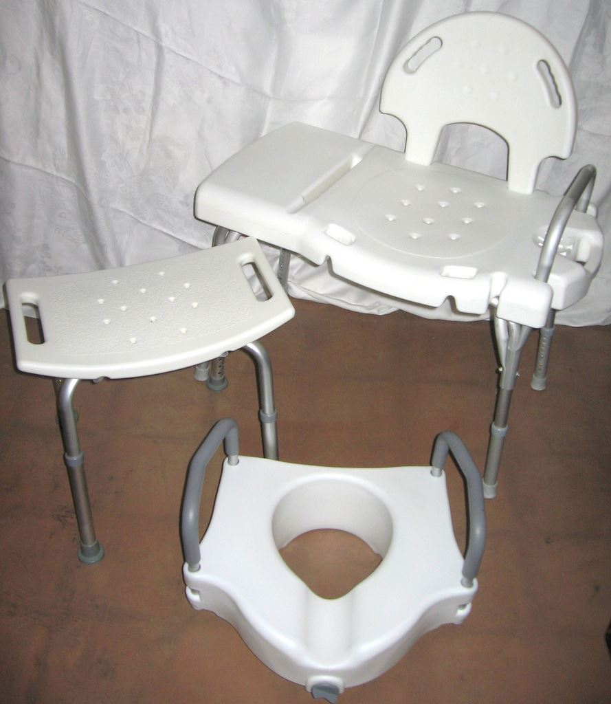 Shower chair, tub bench, and toilet seat riser