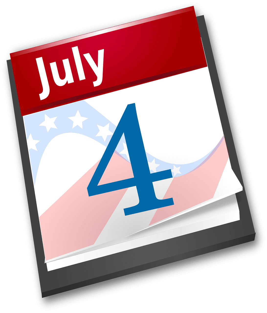 calendar page icon reading fourth of july